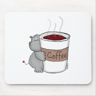 Hippo with Coffee Mouse Mat