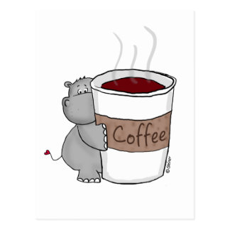 Hippo with Coffee Postcard