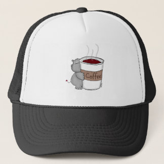 Hippo with Coffee Trucker Hat
