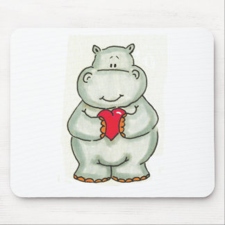 Hippo with Heart Mouse Mat