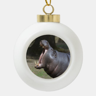 Hippo with His Mouth Open Ceramic Ball Decoration