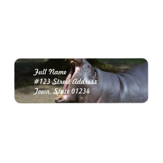Hippo with His Mouth Open Return Address Label