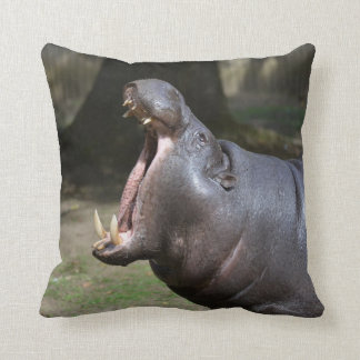 Hippo with His Mouth Open Throw Cushion