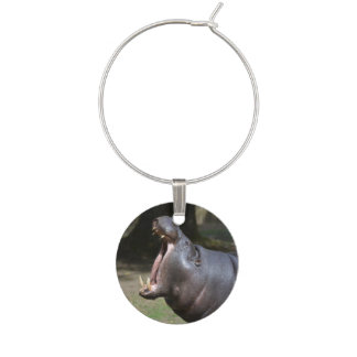 Hippo with His Mouth Open Wine Charm