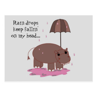 Hippo with Umbrella Postcard
