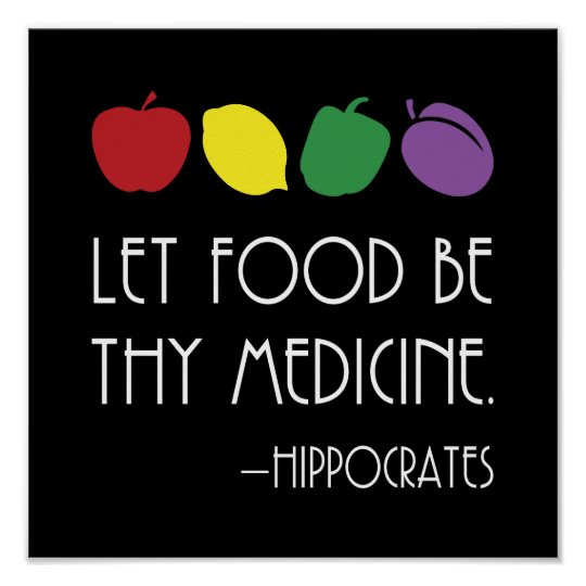Hippocrates Quote Let Food Be Thy Medicine Poster