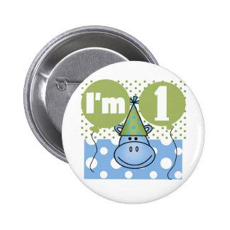 Hippopotamus 1st Birthday Tshirts and Gifts 6 Cm Round Badge