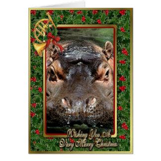 Hippopotamus African Animal Blank Christmas Card