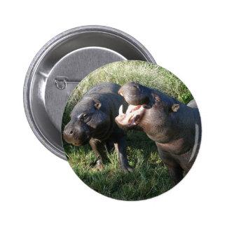 Hippopotamus 6 Cm Round Badge