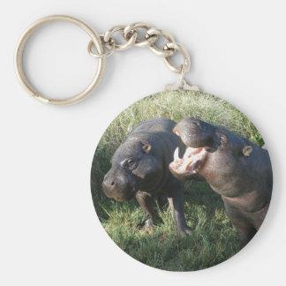 Hippopotamus Basic Round Button Key Ring