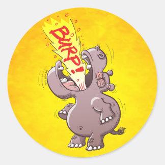 Hippopotamus Burping Loudly Classic Round Sticker