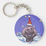 Hippopotamus Christmas Basic Round Button Key Ring