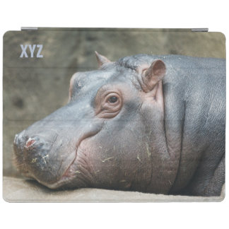 Hippopotamus custom monogram device covers iPad cover