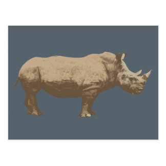 Hippopotamus Cut Out On Blue Background Postcard