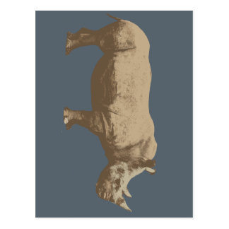 Hippopotamus Cut Out On Blue Background Postcard