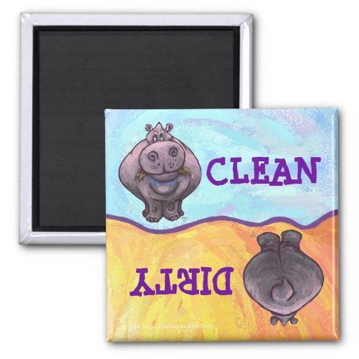 Hippopotamus Dirty / Clean Dishwasher Magnet Fridge Magnets