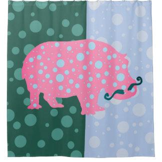 Hippopotamus Dots Trendy Hipster Shower Curtain