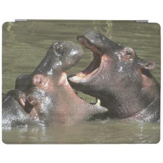 Hippopotamus, (H. amphibius), mother & young iPad Cover