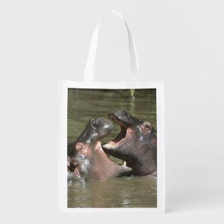 Hippopotamus, (H. amphibius), mother & young Reusable Grocery Bag