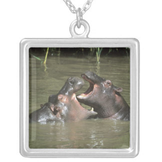 Hippopotamus, (H. amphibius), mother & young Silver Plated Necklace
