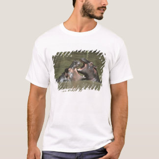 Hippopotamus, (H. amphibius), mother & young T-Shirt