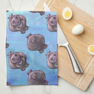 Hippopotamus Heads and Tails Patterns Tea Towel
