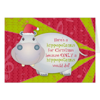Hippopotamus Hippo Christmas Xmas Greeting Card