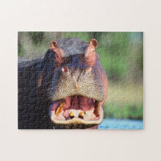 Hippopotamus (Hippopotamus Amphibius) Threat Jigsaw Puzzle