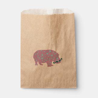 Hippopotamus Moustache Custom Kraft Favor Bag Favour Bags