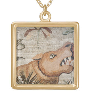 Hippopotamus, Nile mosaic, House of the Faun Gold Plated Necklace