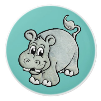 Hippopotamus on Your Own Color Background Ceramic Knob
