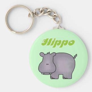 Hippopotamus Tshirts and Gifts Basic Round Button Key Ring