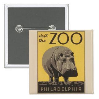 Hippopotamus Vintage WPA Zoo Poster Philadelphia 15 Cm Square Badge