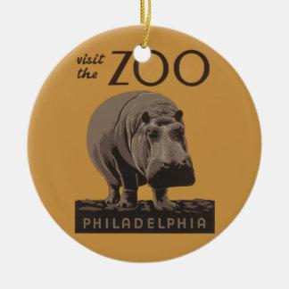 Hippopotamus Vintage WPA Zoo Poster Philadelphia Christmas Ornament