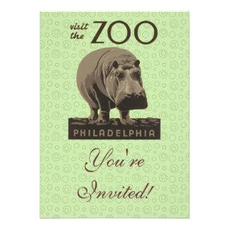 Hippopotamus Vintage WPA Zoo Poster Philadelphia Personalized Invitations