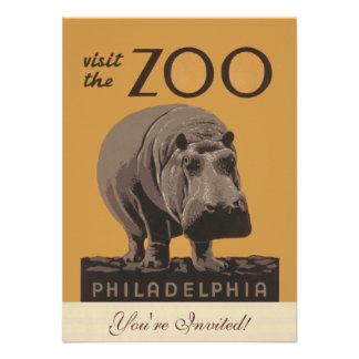 Hippopotamus Vintage WPA Zoo Poster Philadelphia Announcement