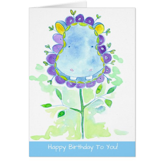 Hippopotamus Watercolor Flower Happy Birthday Card