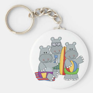 Hippos at the Beach Tshirts and Gifts Key Ring