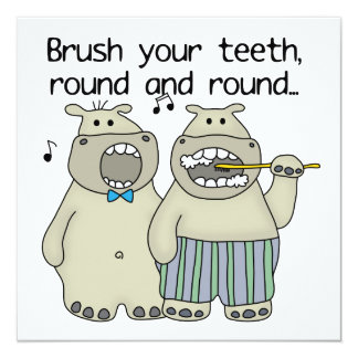 Hippos Brush Your Teeth 13 Cm X 13 Cm Square Invitation Card