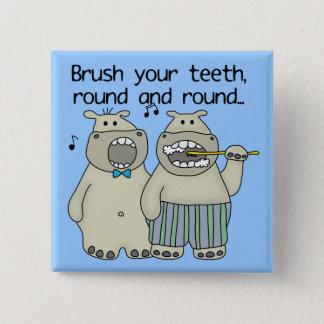 Hippos Brush Your Teeth 15 Cm Square Badge