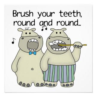 Hippos Brush Your Teeth Custom Announcements
