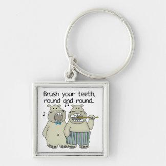 Hippos Brush Your Teeth Key Chains
