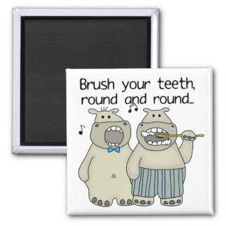Hippos Brush Your Teeth Magnet