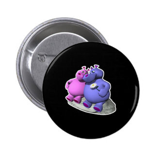 hippos in love 6 cm round badge