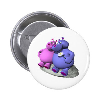 hippos in love 6 cm round badge