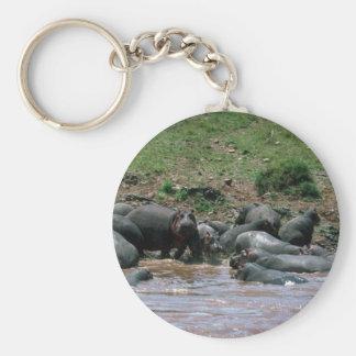 Hippos - In River Key Ring