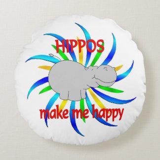 Hippos Make Me Happy Round Cushion