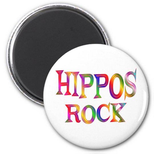 Hippos Rock 6 Cm Round Magnet