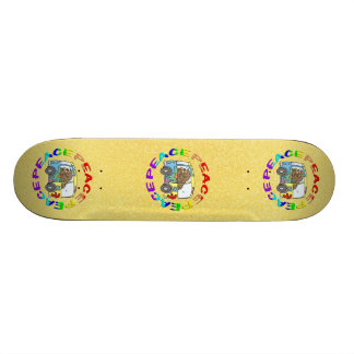 hippy and van with peace skate deck