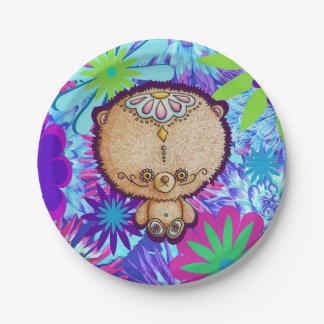 Hippy Bear Paper Plate